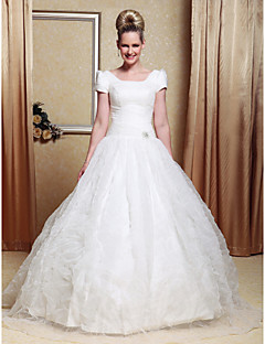 Lanting Bride® Ball Gown Petite / Plus Sizes Wedding Dress - Classic & Timeless / Reception Floor-length Scoop Organza / Satin with