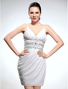 Homecoming Cocktail Party/Graduation Dress - White Plus Sizes Sheath/Column V-neck/Spaghetti Straps Short/Mini Chiffon