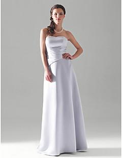 Lanting Bride® Longueur Sol Satin Robe de Demoiselle d'Honneur - Trapèze / Princesse Sans Bretelles Grande Taille / Petite avec Pan drapé