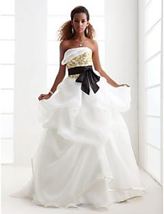 Lan Ting Ball Gown Plus Sizes Wedding Dress - Ivory Sweep/Brush Train Strapless Satin/Organza