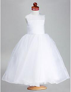 LAN TING BRIDE Ballkleid Knöchel-Länge Blumenmädchenkleid - Organza Satin Schmuck mit Perlenstickerei Drapiert Horizontal gerüscht