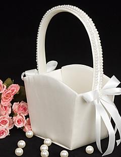 blomsterpike kurv i elfenben sateng med perle foret håndtak