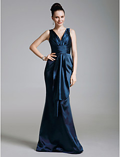 TS Couture® Formal Evening / Military Ball Dress - Dark Navy Plus Sizes / Petite Trumpet/Mermaid V-neck Floor-length Stretch Satin / Satin