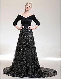 TS Couture® Formal Evening Dress - Black Plus Sizes / Petite A-line V-neck / Off-the-shoulder Court Train Satin / Sequined