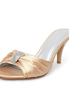 cetim chinelos de salto agulha com sapatos superior strass casamento de noiva (0986-668-3)