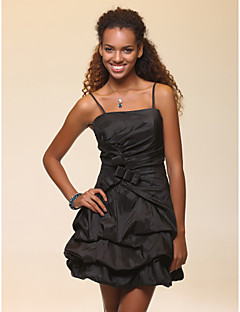 Cocktail Party / Wedding Party / Holiday / Sweet 16 Dress - Plus Size / Petite A-line / Ball Gown Spaghetti Straps Short/Mini Taffeta