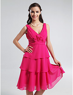 Lanting Knee-length Chiffon Bridesmaid Dress - Fuchsia Plus Sizes / Petite A-line / Princess V-neck / Straps