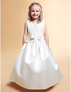 A-line/Princess Floor-length Flower Girl Dress - Satin/Lace Sleeveless
