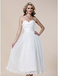 Cocktail Party/Prom/Formal Evening/Graduation Dress - Ivory Plus Sizes A-line/Princess Strapless/Sweetheart Tea-length Lace/Taffeta