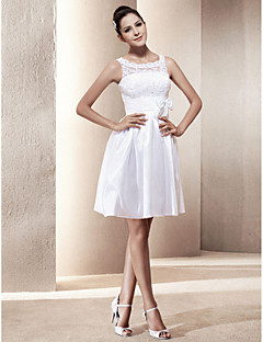 Lanting Bride® A-line / Princess Petite / Plus Sizes Wedding Dress - Chic & Modern / Reception Little White Dresses Short / Mini Scoop