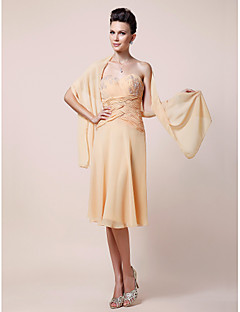 Lanting Sheath/Column Plus Sizes / Petite Mother of the Bride Dress - Daffodil Knee-length Sleeveless Chiffon