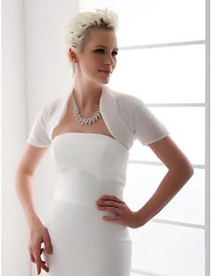 Wraps casamento Boleros Manga Curta Organza Branco Casamento Camiseta Aberto à Frente