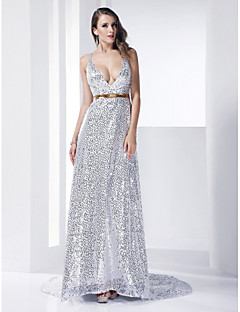 TS Couture Formal Evening Dress - Sparkle & Shine Celebrity Style Sheath / Column V-neck Straps Court Train Sequined withSash / Ribbon