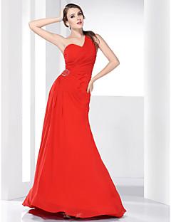 A-line One Shoulder Sweep/ Brush Train Chiffon Evening/Prom Dress