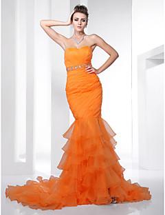 Trumpet/ Mermaid Sweetheart Court Train Organza Evening Dress