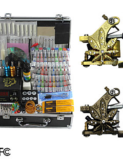 2 Cast Iron Tattoo Gun Kit with LCD Power Supply and 40 Ink