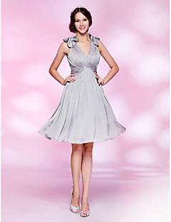 A-line V-neck Knee-length Satin Chiffon Cocktail Dress