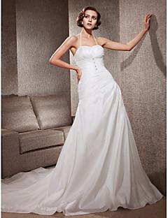 A 라인 고삐 법원 기차 태 피터 웨딩 드레스를 lanting