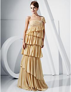 칼집 / 칼럼 한쪽 어깨 층 길이 쉬폰 이브닝 드레스