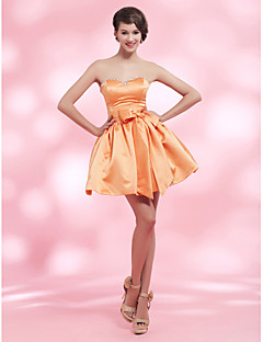 Homecoming Cocktail Party/Homecoming/Sweet 16 Dress - Orange Plus Sizes Ball Gown Strapless/Sweetheart Short/Mini Satin