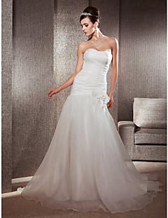 Lanting Bride® צמוד ומתרחב קטן / מידה גדולה שמלת כלה - קלסי ונצחי / אלגנטי ויוקרתי שובל כנסייה (צ'אפל) מחשוף לב אורגנזה עם