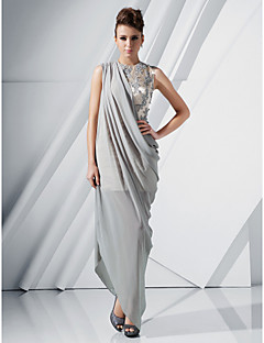 Formal Evening Dress - Silver Plus Sizes Sheath/Column Jewel Floor-length/Asymmetrical Chiffon/Satin