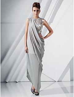 저녁 정장파티 드레스 - 실버 시스/컬럼 바닥 길이/비대칭 보석 쉬폰/사틴 플러스 사이즈