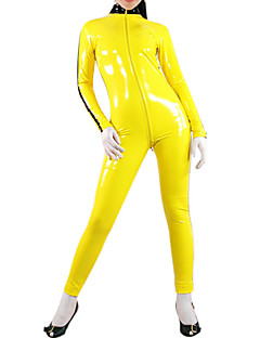 Yellow Shiny Metallic Women PVC Catsuit