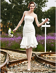 Lanting Trumpet/Mermaid Plus Sizes Wedding Dress - Ivory Knee-length Strapless Satin/Lace