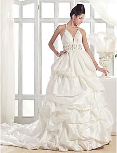 Lanting A-line Halter Court Train Taffeta Wedding Dress