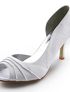 satin övre stilettklack peep tå bröllopstjänster bridal skor