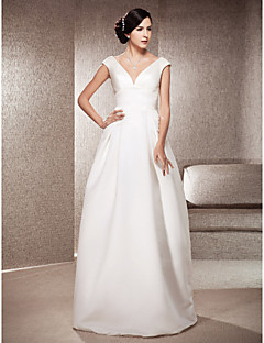 A-line/Princess Plus Sizes Wedding Dress - Ivory Floor-length V-neck Satin