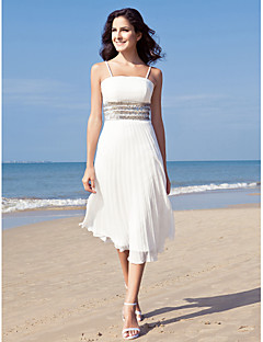 Lanting Sheath/Column Plus Sizes Wedding Dress - Ivory Tea-length Spaghetti Straps Chiffon