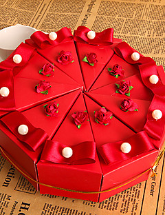 flor vermelha caixa favor bolo com pérola (conjunto de 10)
