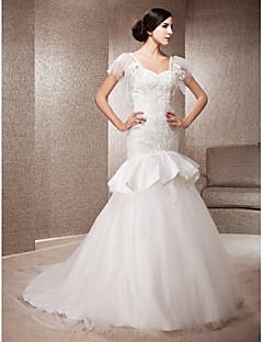 lanting 트럼펫 / 인어 연인 법원 기차 레이스와 얇은 명주 그물 웨딩 드레스