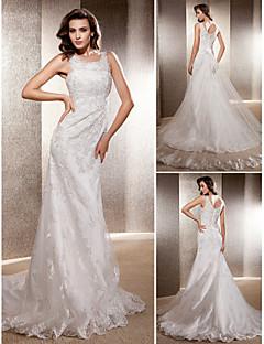 Lanting Bride Trumpet/Mermaid Petite / Plus Sizes Wedding Dress-Sweep/Brush Train Scoop Lace / Tulle