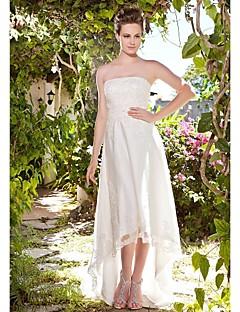 Lanting Sheath/Column Plus Sizes Wedding Dress - Ivory Asymmetrical Strapless Tulle