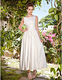 Lanting A-line/Princess Plus Sizes Wedding Dress - Ivory Ankle-length Scoop Satin