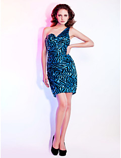 Cocktail Party Homecoming Holiday Dress - Sparkle & Shine Sheath / Column One Shoulder Sweetheart Short / Mini Sequined with Side Draping