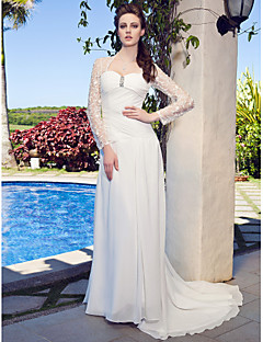 Lanting Bride Sheath/Column  Petite / Plus Sizes / Rectangle Wedding Dress-Sweep/Brush Train