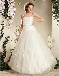 abito da ballo Lanting sposa petite / taglie cinghie abito da sposa-pavimento-lunghezza di spaghetti tulle