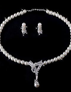 twee stuk prachtige ivoren parel dames ketting en oorbellen sieraden set (38 cm)