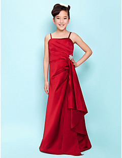 Lanting Bride® Floor-length Satin Junior Bridesmaid Dress A-line / Princess Spaghetti Straps Natural withSide Draping / Cascading Ruffles