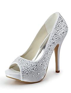 női cipő Bejeweled szatén tűsarkú platform peep toe sarkú esküvői cipő több színben