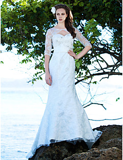 Trumpet/Mermaid Plus Sizes Wedding Dress - Ivory Court Train Jewel Lace