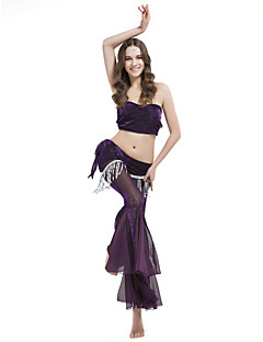Belly Dance Outfits Women's Training Polyester Draped / Tassel(s) 2 PiecesBlack And Gold / Black And Silver / Dark Purple / Fuchsia /