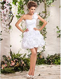 Ball Gown Plus Sizes Wedding Dress - Ivory Short/Mini One Shoulder Taffeta