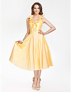 Tea-length Taffeta Bridesmaid Dress - Daffodil Plus Sizes / Petite A-line / Princess V-neck / Halter