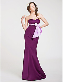Floor-length Satin Bridesmaid Dress - Grape Plus Sizes / Petite Trumpet/Mermaid Strapless / Sweetheart