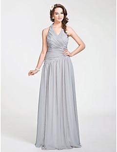 Longo Chiffon Vestido de Madrinha - Linha A / Princesa Nadador Tamanhos Grandes / Mignon com Pregueado / Drapeado Lateral / Cruzado